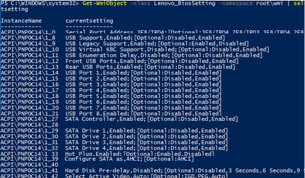 list all Lenovo_BiosSetting using powershell