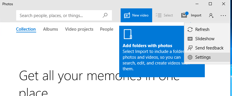 Photos app settings in Windows 10