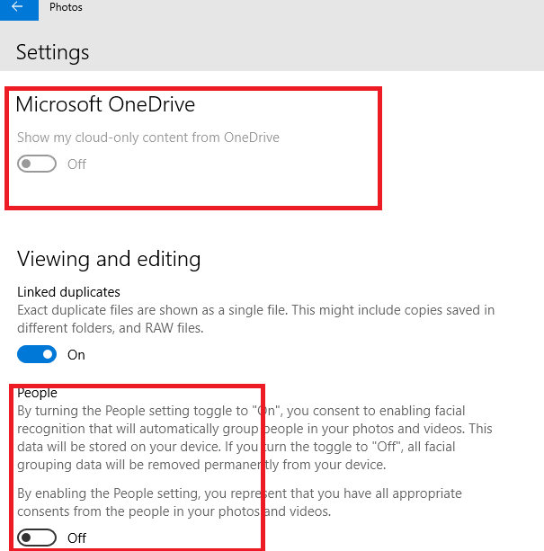 photos - disable onedrive and peole features