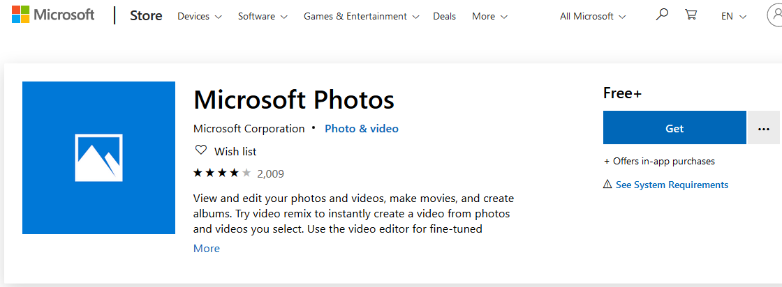 reinstall microsoft photos app from store