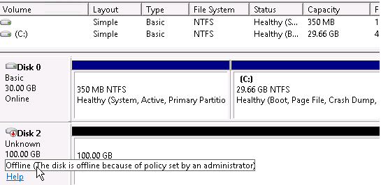 Windows Server 2016 Offline disk because of policy set by an administrator