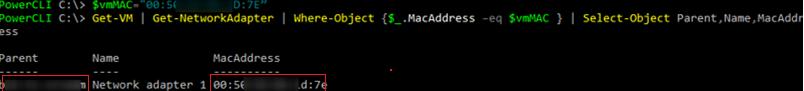 find virtual machine by mac adress via powercli
