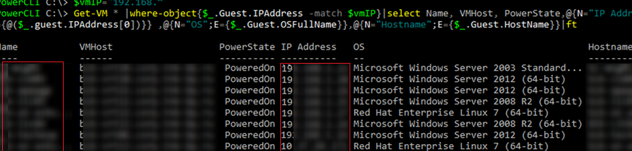 list vmware vms with ip address, os version and host name