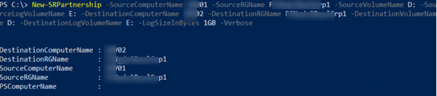 storage replica - enable replication using PowerShell cmdlet New-SRPartnership