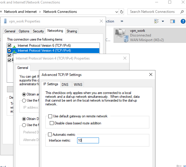 change vpn interface metric on windows 10