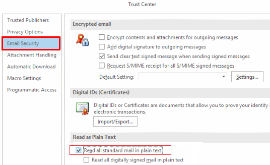 disable default plain text view for email in outlook