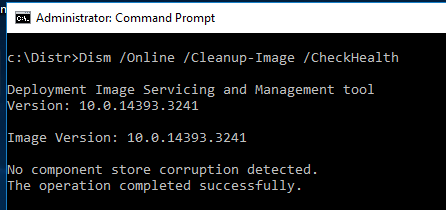Dism CheckHealth No component store corruption detected