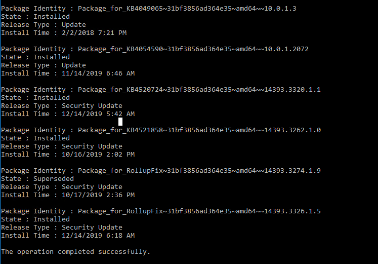 dism /online /get-packages - get update state