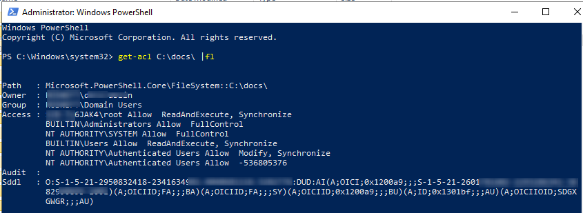 get-acl - powershell cmdlet to list current ntfs permissions
