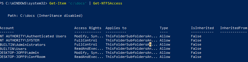 Get-NTFSAccess permission list with powershell