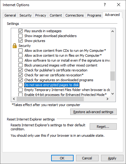 ie setting - Do not save encrypted files to disk