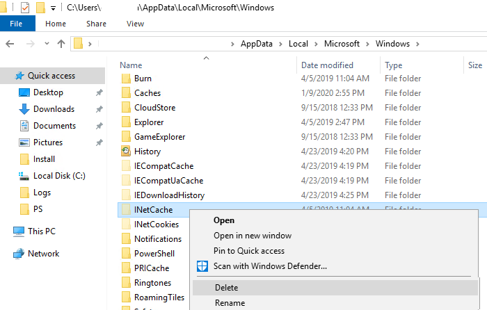 INetCache clear outlook cache
