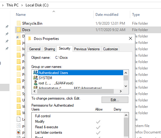 manage ntfs folder permissions from the object properties