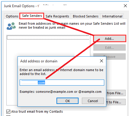 outlook - add senders to save list