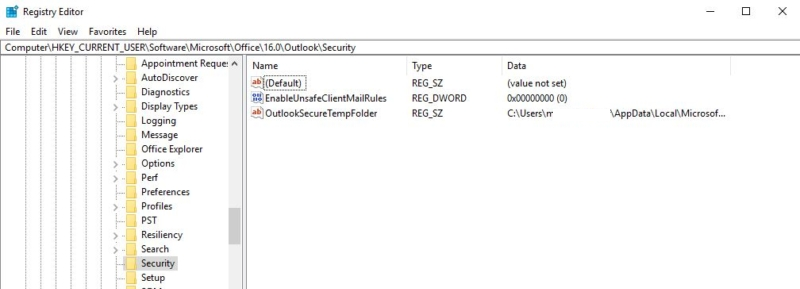 OutlookSecureTempFolder set via regedit