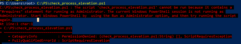 powershell ScriptRequiresElevation