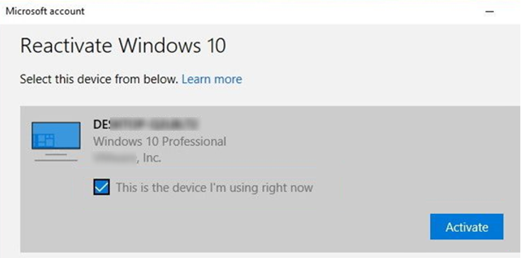 reactivate windows 10 - This is the device I'm using right now