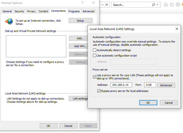 set proxy server in internet explorer windows 10