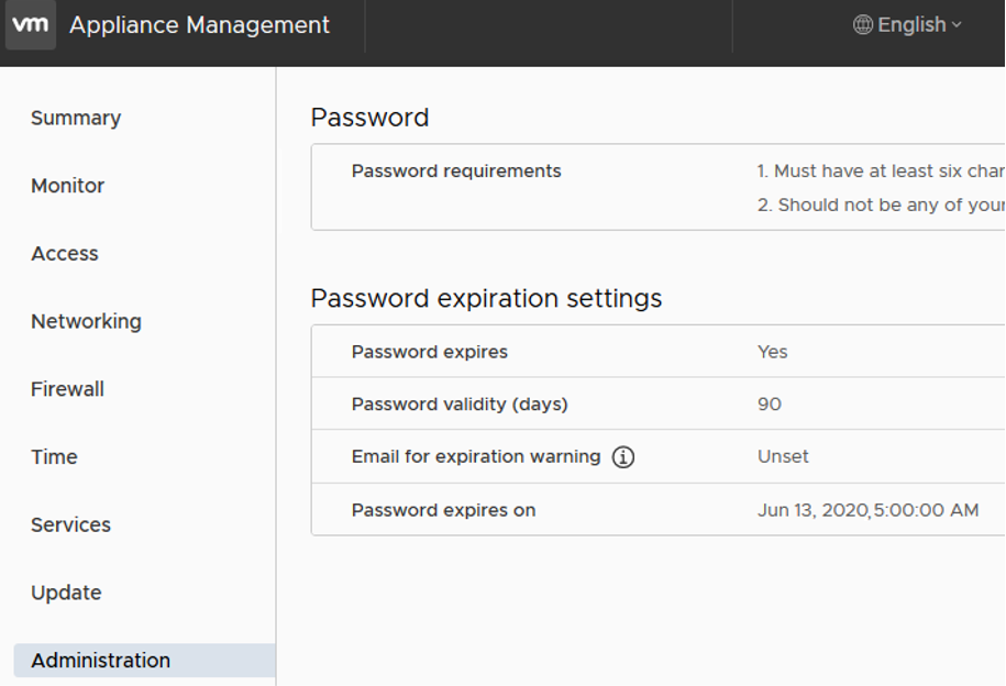 vCSA Appliance Management - Password expiration settings
