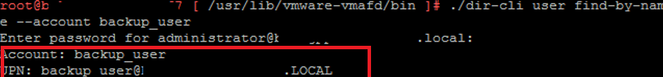 vmware tool dir-cli - change user password