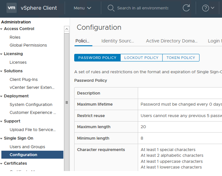 vmware vsphere password and locout policies