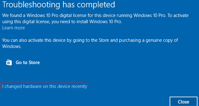 We found a Windows 10 Pro digital license for this device running Windows 10 Pro - I changed hardware on this device recently
