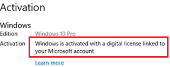 Windows is activated with a digital license linked to your Microsoft account