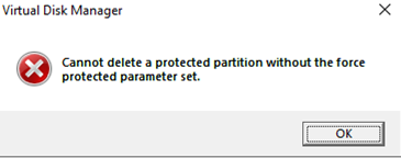 Cannot delete a protected partition without the force protected parameter set.