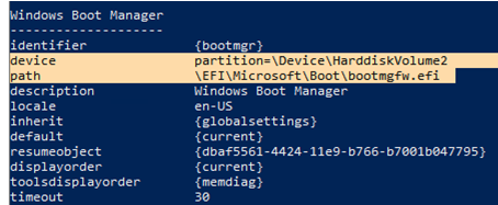 check Windows Boot Manager configuration