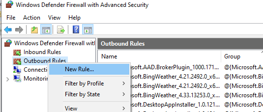 create new outbound rule on windows firewall
