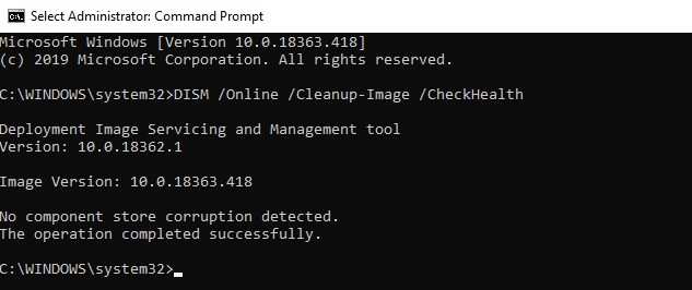 DISM /Cleanup-Image /CheckHealth - check windows 10 image