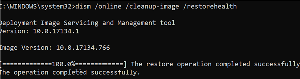 DISM /Online /Cleanup-Image /RestoreHealth - The restore operation completed successfully
