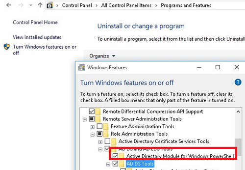 enable Active Directory module for Windows PowerShell on windows 10/8.1/7
