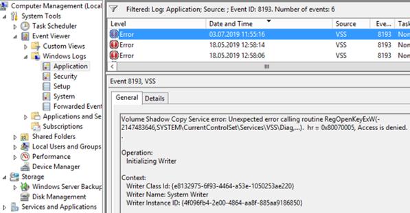 EventID 8193 VSS - Volume Shadow Copy Service error