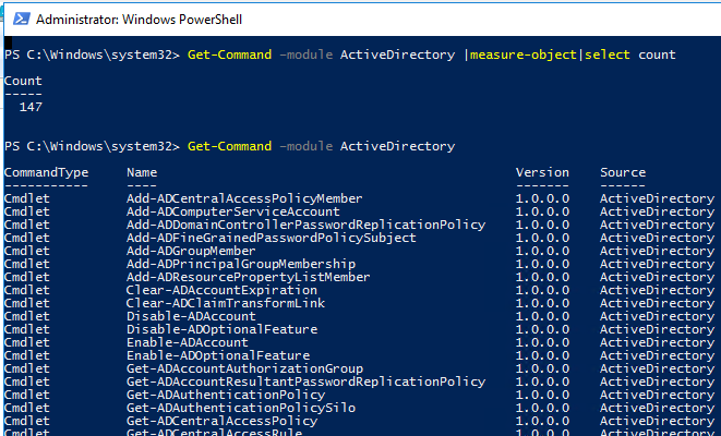 Get all Command of ActiveDirectory powershell module