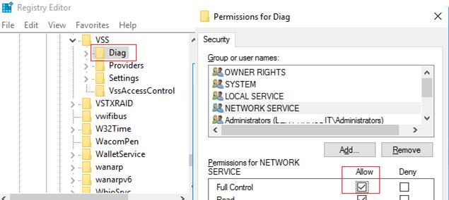 HKLM\SYSTEM\CurrentControlSet\services\VSS\Diag registry permissions