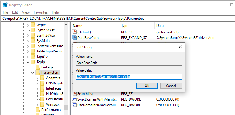 hosts file path in registry