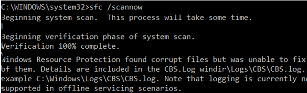 sfc /scannow Windows Resource Protection found corrupt files but was unable to fix some of them