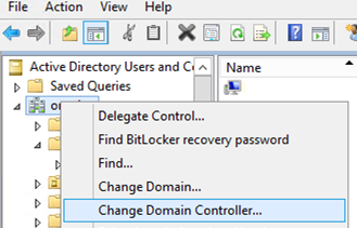 Change Domain Controller in AD mmc snap-in