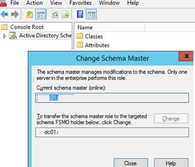 change Transfer Schema Master Role domain controller