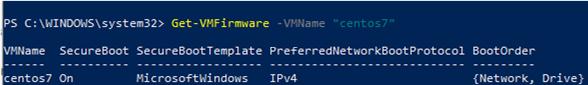 Get-VMFirmware hyper-v