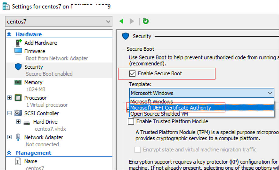 hyper-v vm gen-2 - secure boot mode and Microsoft UEFI Certificate Authority template