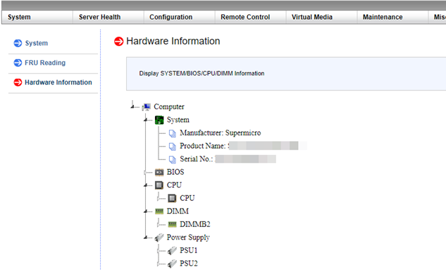 ipmi web - view supermicro server hardware