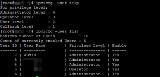 ipmicfg list users