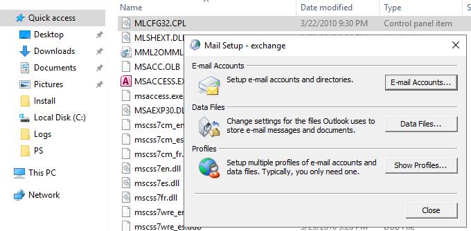 MLCFG32.CPL - Mail Setup app