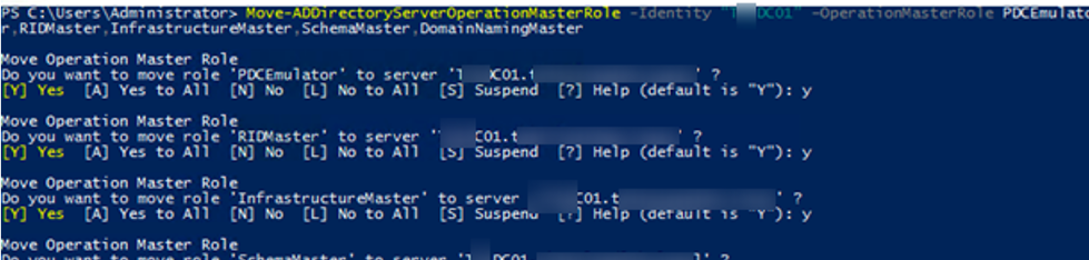 Move-ADDirectoryServerOperationMasterRole - powershell command to transfer FSMO Roles