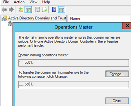 move Domain Naming Master FSMO using Active Directory Domains and Trusts mmc
