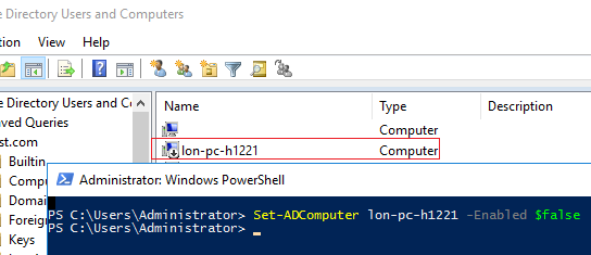 Set-ADComputer - enable computer in AD