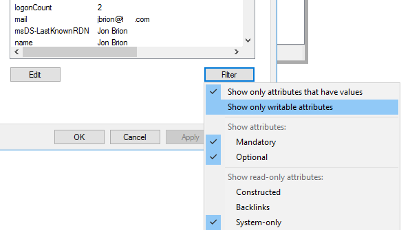 attribute editor filter: show only writable attributes