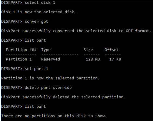 diskpart convert disk to gpt